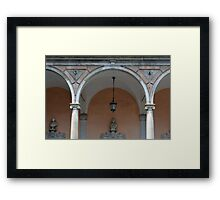 Classical colonade detail with ionic columns and decorative arches. Framed Print