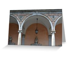 Classical colonade detail with ionic columns and decorative arches. Greeting Card