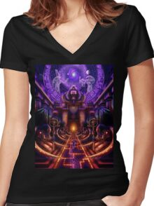 """The Key is within"" Women's Fitted V-Neck T-Shirt"