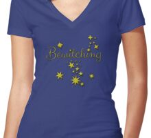 Bewitching with Gold Stars Women's Fitted V-Neck T-Shirt
