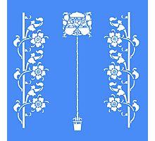 Art Deco Floral Design in Snow White Photographic Print
