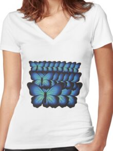 layer butterflies Women's Fitted V-Neck T-Shirt