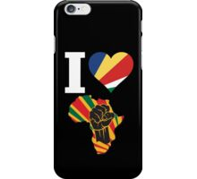 I Love Africa Map Black Power With Seychelles Flag iPhone Case/Skin
