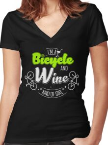 Bicycle and wine Women's Fitted V-Neck T-Shirt