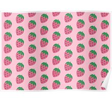 Big Strawberry Repeat Pattern Poster