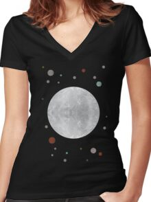 Moon Women's Fitted V-Neck T-Shirt