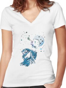 Cookie Monster And The Cookie Moon Women's Fitted V-Neck T-Shirt