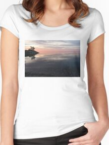 Silky Morning on the Lake - Pink and Purple Serenity Women's Fitted Scoop T-Shirt