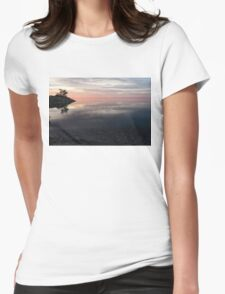 Silky Morning on the Lake - Pink and Purple Serenity Womens Fitted T-Shirt