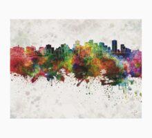 Edmonton skyline in watercolor background Kids Tee