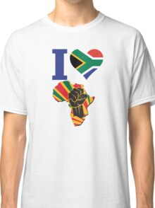 I Love Africa Map Black Power South Africa Flag Classic T-Shirt