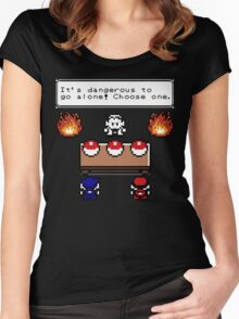 Dangerous to go alone choose a pokemon! Women's Fitted Scoop T-Shirt