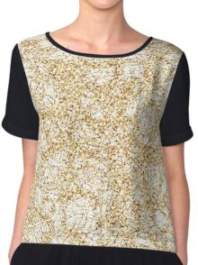 Gold Thread on White Abstract Chiffon Top