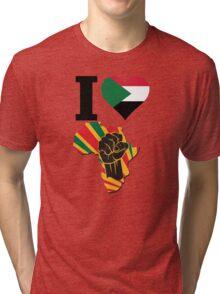 I Love Africa Map Black Power Sudan Flag T-Shirt Tri-blend T-Shirt