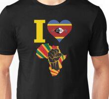 I Love Africa Map Black Power Swaziland Flag Unisex T-Shirt