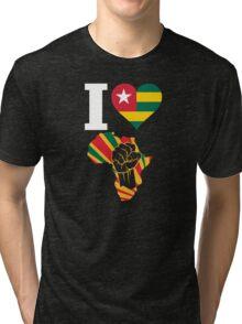 I Love Africa Map Black Power Togo Flag  Tri-blend T-Shirt