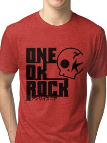 One Ok Rock with skull Black Tri-blend T-Shirt