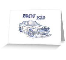 Bmw E30 Evo 2 Sketch Greeting Card