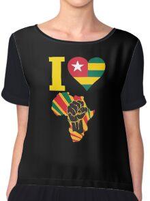 I Love Africa Map Black Power Togo Flag Chiffon Top