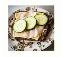 Bread with Cucumber, Turkey and Cheese Art Print