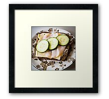 Bread with Cucumber, Turkey and Cheese Framed Print