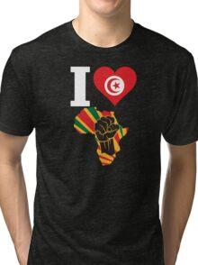 I Love Africa Map Black Power Tunisia Flag Tri-blend T-Shirt