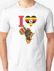 I Love Africa Map Black Power Uganda Flag Unisex T-Shirt