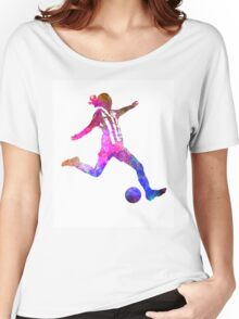 Girl playing soccer football player silhouette Women's Relaxed Fit T-Shirt
