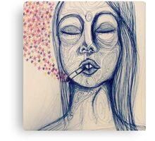 blue ink lady's mood Canvas Print
