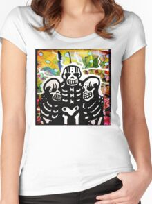 The Brothers Skelly. Mixed Media Women's Fitted Scoop T-Shirt