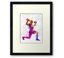 Man exercising weight training workout fitness Framed Print