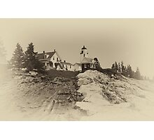Pemaquid Point Light House In Sepia Photographic Print
