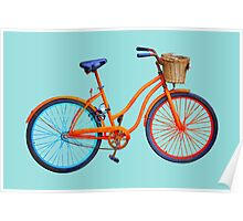 Bicycle on blue ground Poster