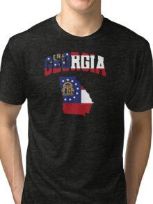 Georgia Flag in Georgia Map Tri-blend T-Shirt