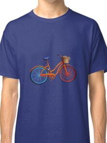 Old bicycle on lilac grey ground Classic T-Shirt