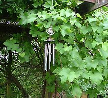 Wind charm in the grape vine by Mibbles