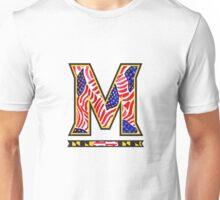University of Marlyand M in American Flag Print Unisex T-Shirt