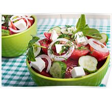 Useful vegetarian salad with raw tomatoes, cucumbers and onions Poster