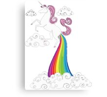 Funny Unicorn Rainbow Fart Cloud Canvas Print
