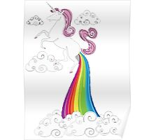 Funny Unicorn Rainbow Fart Cloud Poster