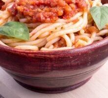 Cooked spaghetti in a brown small wooden bowl Sticker