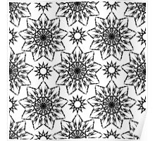 Black and white crystal flowers Poster