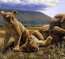 Double Trouble - African Lion Cub Painting by csforest