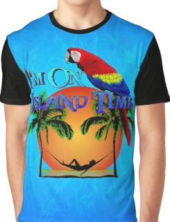 Island Time And Parrot Graphic T-Shirt