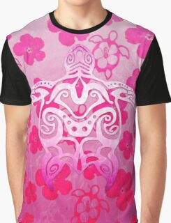 Pink Tribal Turtle Graphic T-Shirt