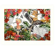 Drawing Paradise - Hoopoes, elephants and giraffes Art Print
