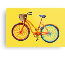 Old icelandic bicycle on buttercup background Metal Print