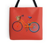 Old icelandic bicycle on fiesta red background Tote Bag