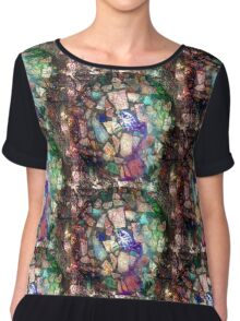 Blue Willow Extrapolated Mosaic Chiffon Top