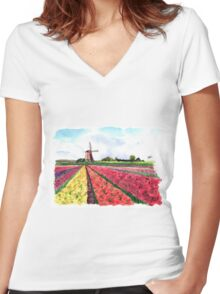 Holland flowers Women's Fitted V-Neck T-Shirt